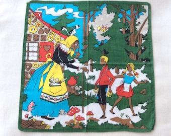 Fairy Tale Handkerchief Hansel and Gretel Brothers Grimm Collectible 1960s Vintage Handkerchiefs