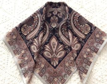 Silk Scarf Brown Black Paisley Vintage Silk Scarves Jones New York
