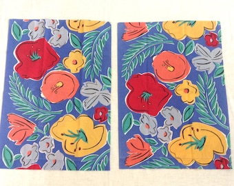 2 Pillowcases Vintage Bed Linens Large Tropical Flowers in Blue Orange Yellow 1970s Flower Power