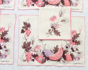 Linen Placemat Set 4 Placemats 4 Napkins Pink Fruit by Luther Travis Vintage Table Linens