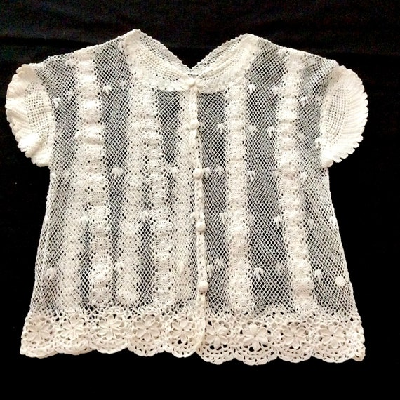 1940s Crochet Cardigan Blouse, Size Extra Small, C