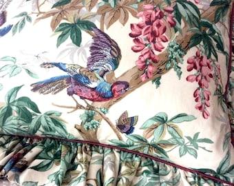 Decorative Pillow Sham Standard or Queen Custom Made Designer Fabric Ruffles Birds Butterflies