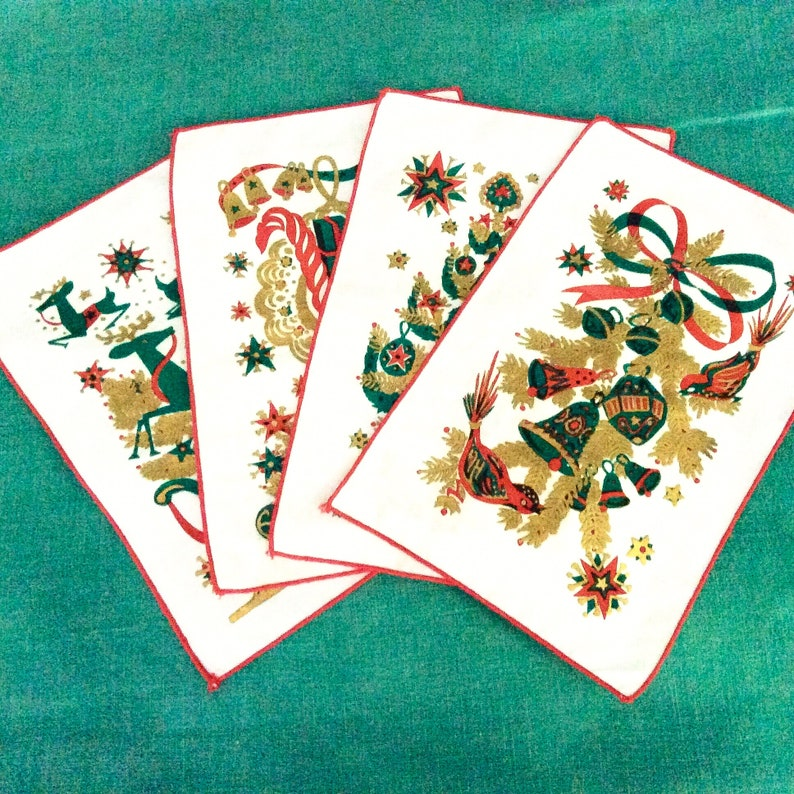 Red and Green Lewis Garland Unused Gold Metallic Print Mid Century Barware 4 Christmas Cocktail Napkins