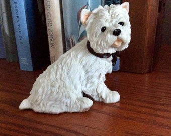Dog Figurine West Highland Terrier Barkers Wallace Westie Sculpture Leather Collar Vintage Home Decor