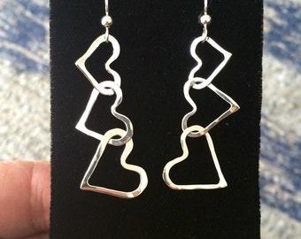 Valentine Hammered Heart Dangle Earrings Argentium Sterling Silver