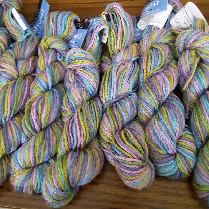 Green YARN: 9 Hanks Berroco Softwist Colors Rayon Purple-Discontinued Knit Crochet Blue Wool Multicolor Pink