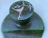 Antique Heintz Sterling Silver on Bronze Arts and Crafts Art Nouveau Cardinal Bird Inkwell