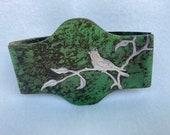 Antique Heintz Sterling Silver on Bronze Arts and Crafts Art Nouveau Cardinal Bird Blotter