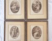 Set of 4 Antique 1784 James Wickstead Fine Engraving Mis-Chance Mis-Take Mis-Conduct Mis-Mis-Fortune Art Work Print Young Lady 18th Century