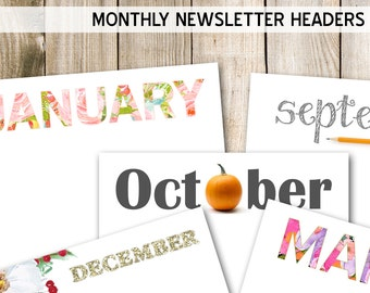 Printable newsletter headers, English and Spanish, Monthly newsletter templates, printable DIY, letter size, 8.5 x 11