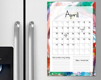 Printable blank calendar, 11x17 watercolor calendar, 11 x 17 digital download, rainbow colors