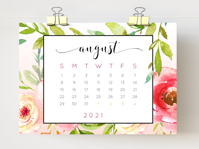 Calendar 2021 Printable floral desk calendar watercolor   Etsy