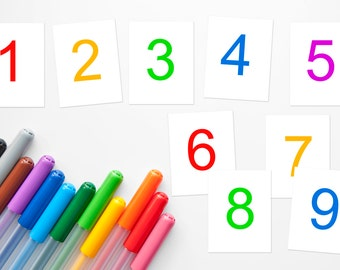 Homeschool or preschool printable flash cards, numbers 1-9, homeschool printable to teach numbers, color and black and white