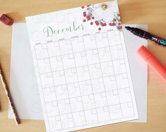 December Calendar, Printable calendar, Reusable printable calendar, perpetual, any year, printable DIY, letter size, 8.5 x 11