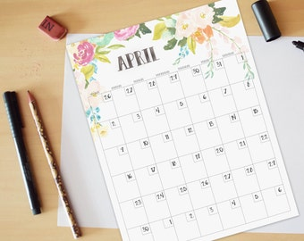 Calendar, Full-year Printable calendar, Reusable printable calendar, perpetual, any year, printable DIY, letter size, 8.5 x 11