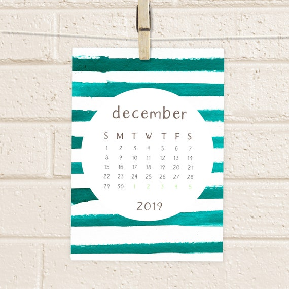 Calendar 2019 Printable Watercolor Stripes Desk Calendar Etsy