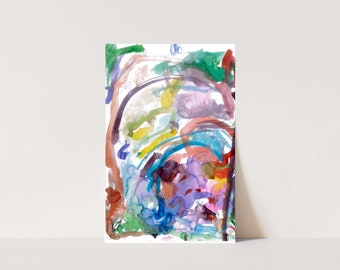 Colorful printable abstract watercolor, 11 x 17, 11 x 14, 8 x 10 or 5 x 7, painted by my 3-year-old daughter