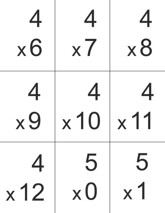 Flash cards, Homeschool math facts printable, multiplication numbers 0-12,  homework help, homeschool multiplication practice