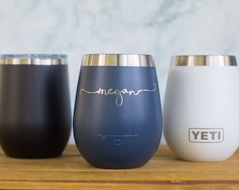 Personalized Engraved YETI® W/ Lid or Polar Camel Wine Tumbler  Bridesmaid Gift, Maid of Honor, Matron, Wedding Party, Mother of the SL1