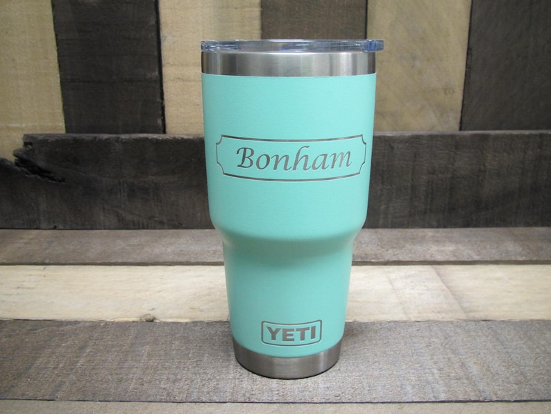 4c3aabee0b1 YETI 30 Ounce Seafoam with Name and Square Border with Scalloped Corners