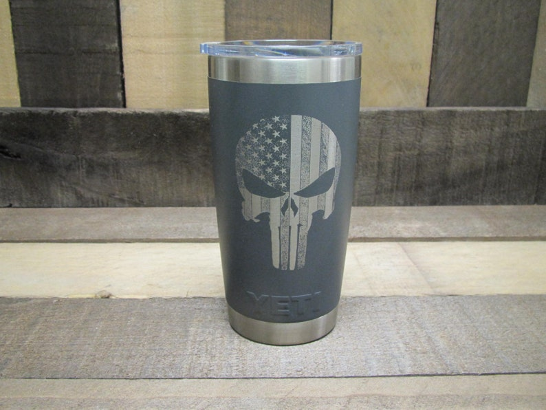 baf0565f0a5 YETI 20 Ounce Charcoal with Punisher Skull