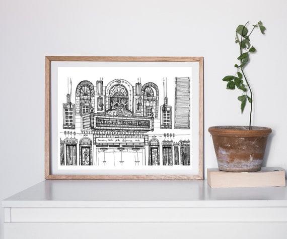 Benedum Center, Ballet Theater, Marquee, illustration, Pittsburgh drawing, Architecture, Pittsburgh, illustration dessinée à la main par KLoRebel