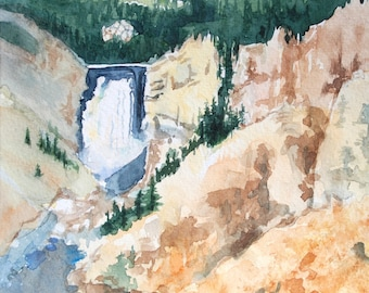 Artist's Point at Yellowstone Original Watercolor -not a print