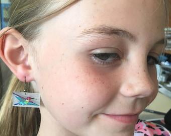 Hand Drawn Hummingbird Earrings