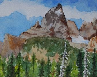 Original Watercolor of Grand Tetons-not a print