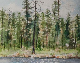 Original Watercolor of Willow Springs Lake-not a print