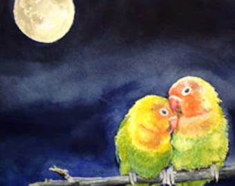 True Love, sweet painting of two peach faced love birds cuddling in the light of the moon