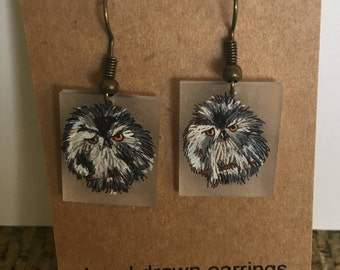 Hand Drawn Baby Owl Earrings