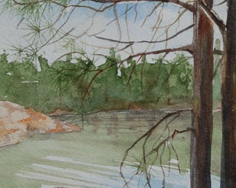 Original Watercolor of Chipmunk at a Forest Lake- not a print