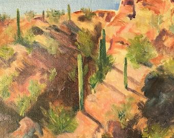 Original Oil Landscape Painting of Sunlit Saguaros. Oil on linen panel.