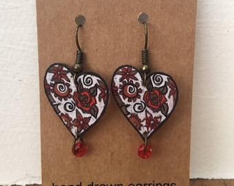 Hand Drawn Valentine Earrings