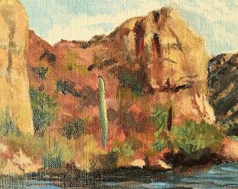 Original Landscape of Saguaro Lake, Oil Painting on belgian linen panel