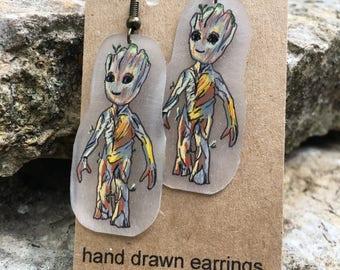 Baby Groot Hand Drawn Earrings