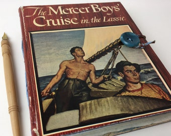 Mercer Boys Cruise Journal with vintage re-purposed cover, boat journal, travel journal, art journal with mixed-media paper
