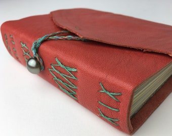 coral leather pocket journal w/ mixed media  and handmade art papers, small leather travel journal, salmon-pink leather art journal