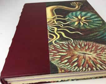 Sea Anemone Watercolor Journal, large fine art journal, handbound fine art journal, wine-red leather bound art sketchbook