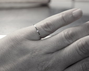 Super ultra thin 0.8mm sterling SILVER band handmade round smooth plain simple skinny dainty tiny little small stacking Wedding spacer ring