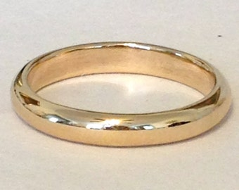 Unisex wedding band, Solid 14k gold, High dome ring, 3.5mm x 2mm wide, half round gold band, comfort fit band,D shaped ring,court style ring