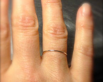 Super ultra thin 0.8mm 14k White gold band round plain simple skinny dainty little small slim delicate tiny Wedding stacking spacer ring