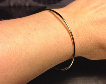Solid gold Bangle/ 14k Gold Bangle/ 2mm wide bangle/ Handmade Bangle Bracelet/ Smooth Finish/ Fully Round/ Plain & Simple/ Stacking Bangles