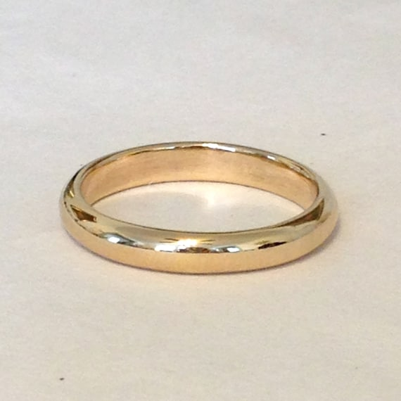 Mens and Womens 14k Rose Gold Plain Wedding Band High Dome 2mm Wide