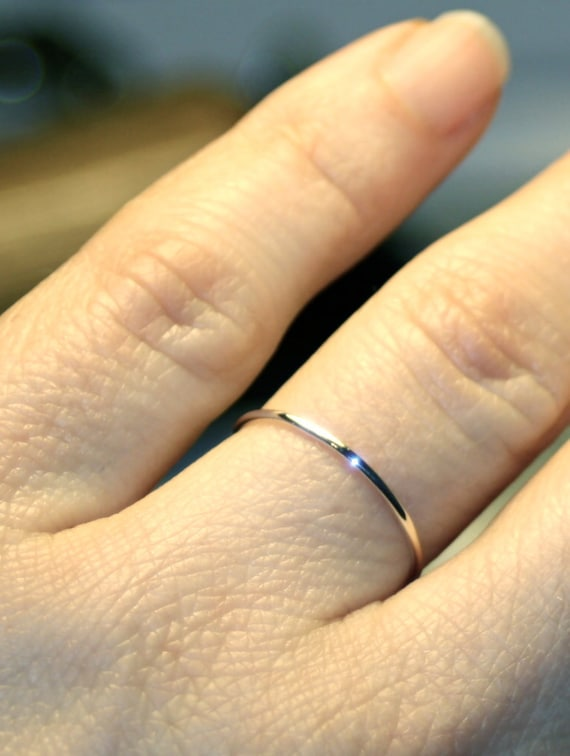 Simple White Gold Wedding Bands | Ultra Thin Wedding Band White Gold Wedding Ring 1mm Skinny Etsy