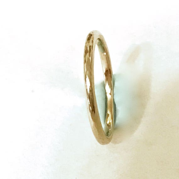 c8483b5e36c919 2mm Hammered 14k Gold Wedding Band Wide Solid yellow gold ring | Etsy