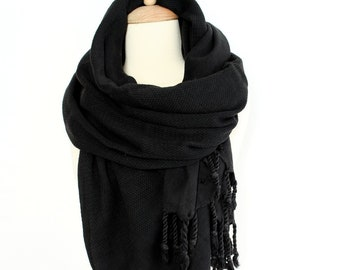 567439b141fd6 Black Boho Shawl Oversized Cotton Scarf Bohemian Travel Wrap Solid Black  Patterned Scarf for Women Shawl Men Organic Soft Pure Cotton Fouta