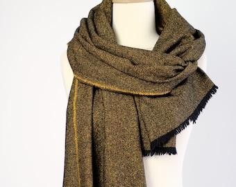 Pure laine écharpe - écharpe tissé noir jaune - Tweed grand châle - couleur  moutarde hiver Echarpes pour hommes   femmes - épaules unisexe 0e26fed96ee