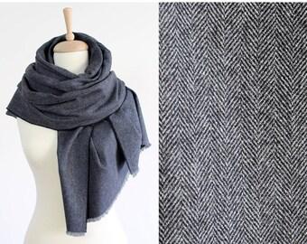 2bd837c96 Grey Herringbone Wool Scarf, Men's Blanket Scarf, Soft Cashmere Wool Shawl,  Women's Oversized Scarves, Big Merino Scarf, Large Winter Scarf